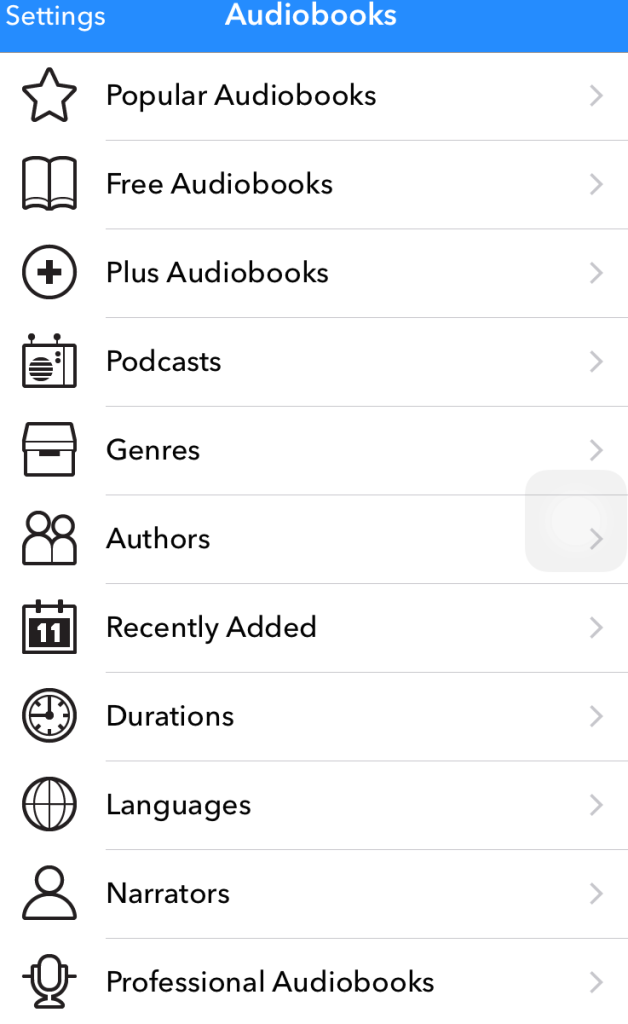 Audiobooks menu